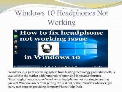 Headphones Not Working-Windows 10 Resolve