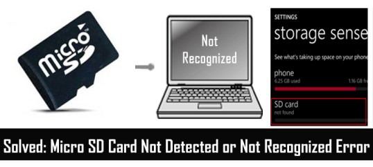 Micro SD Card Not Recognized Error
