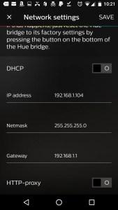 static Philips Hue Bridge IP Address