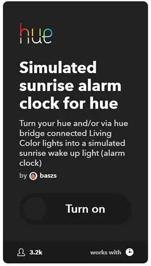 IFTTT sunrise alarm clock philips hue