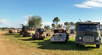 Trucks on the farm stay.