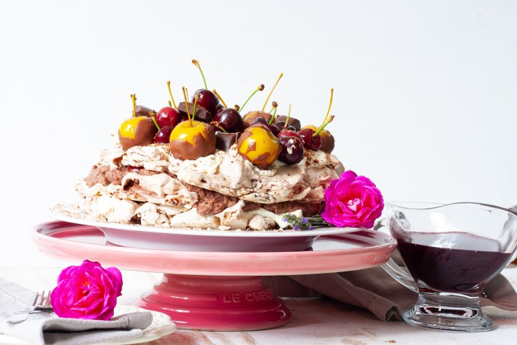 Cherry and chocolate mousse pavlova.