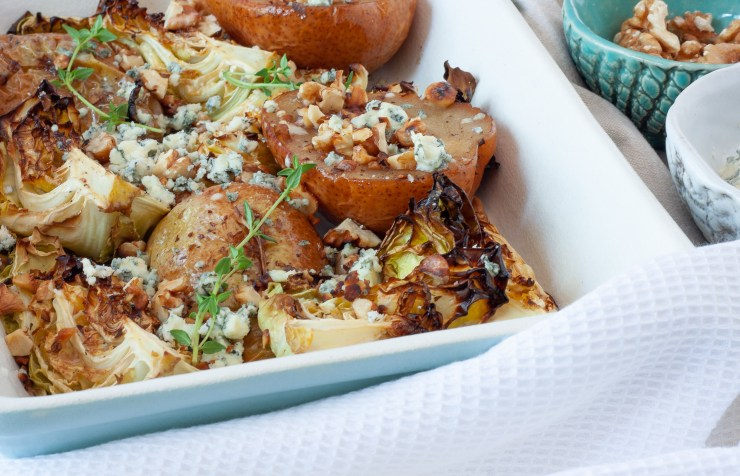 roasted pear and cabbage with blue cheese and walnuts