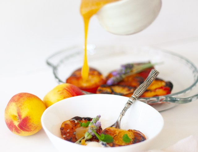 Roasted nectarines and caramel