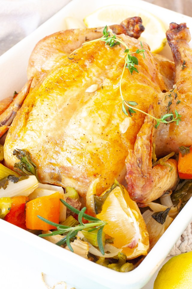 Simple lemon and garlic roast chicken.