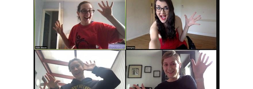 Disability Zoom dance class, myself, Georgina, Helen and Philippa doing jazz hands.