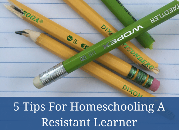 5 Tips For Homeschooling A Resistant Learner #homeschool #learningdifferences #dyslexia