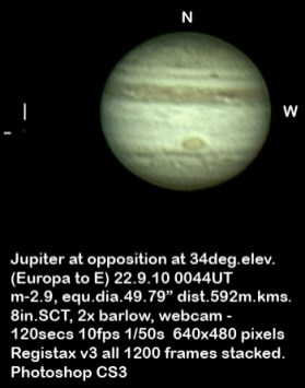 Jupiter Europa 22 September 2010 (by Bryan Lilley)