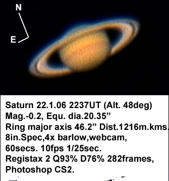 Saturn 22 January 2006 (by Bryan Lilley)