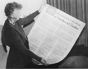 Former US First Lady Eleanor Roosevelt chaired the committee that drafted The Universal Declaration of Human Rights, a statement about the kinds of laws that should be passed everywhere.