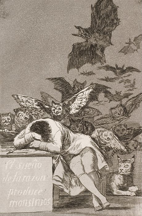 Goya's etching The Sleep of Reason Produces Monsters