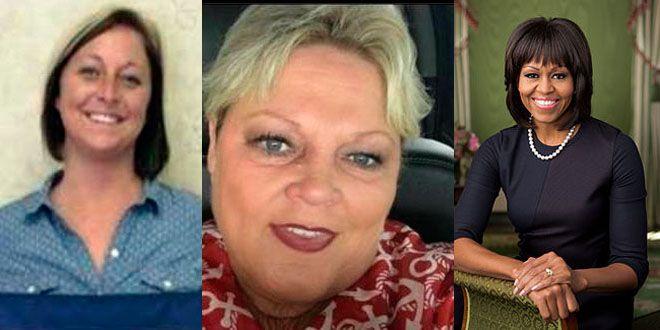 De izquierda a derecha: La alcaldesa de West Virginia, la funcionaria que realizó el comentario racista y Michell Obama