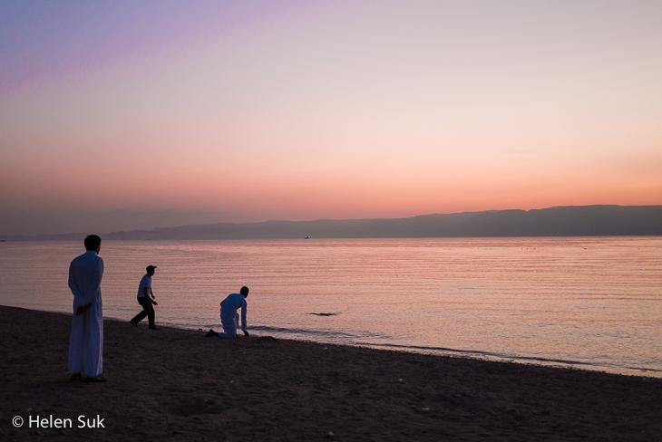 aqaba sunset, south beach, jordan