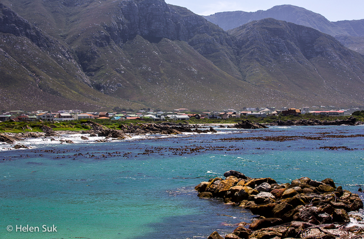 seaside town of bettys bay south africa from a distance