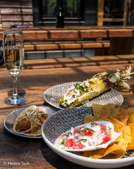 ceviche tacos and elotes at parsons brewery in picton