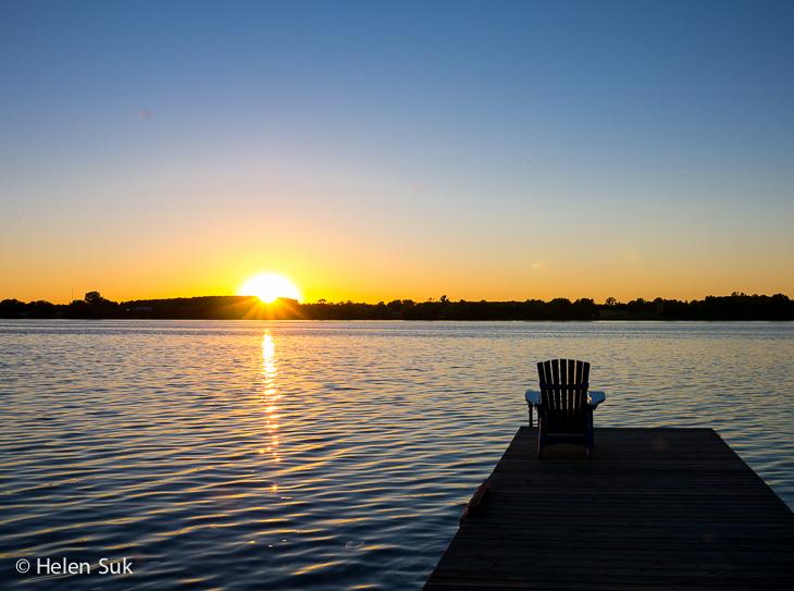 sunset on the lake at sandbanks summer village