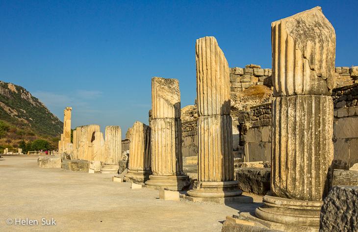 roman columns on curetes street in ephesus turkey