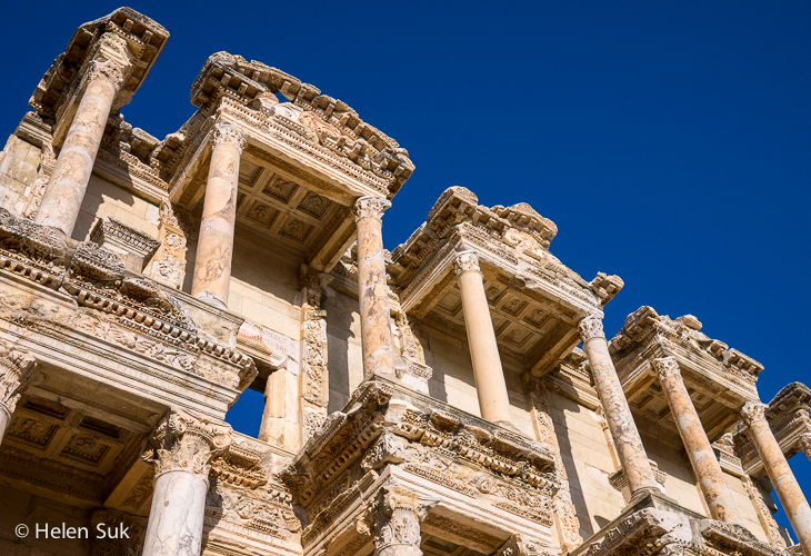 close up of the facade of celsus library in ephesus turkey