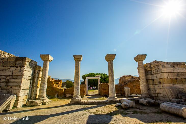 pillars line the ruins at st johns basilica in selcuk turkey