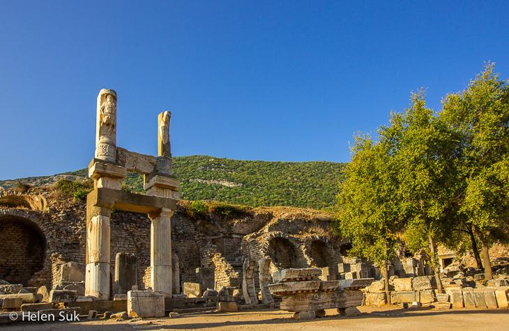 temple domitian in domitian square in ephesus turkey