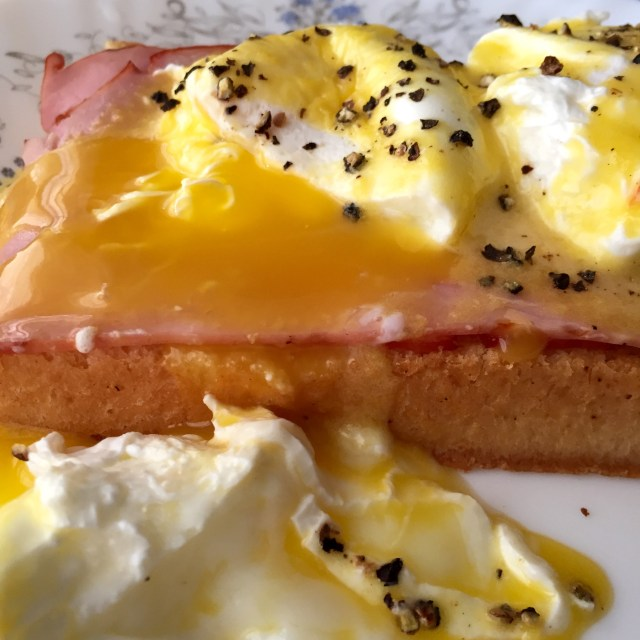 Egg yolk blends with the buttery Hollandaise sauce
