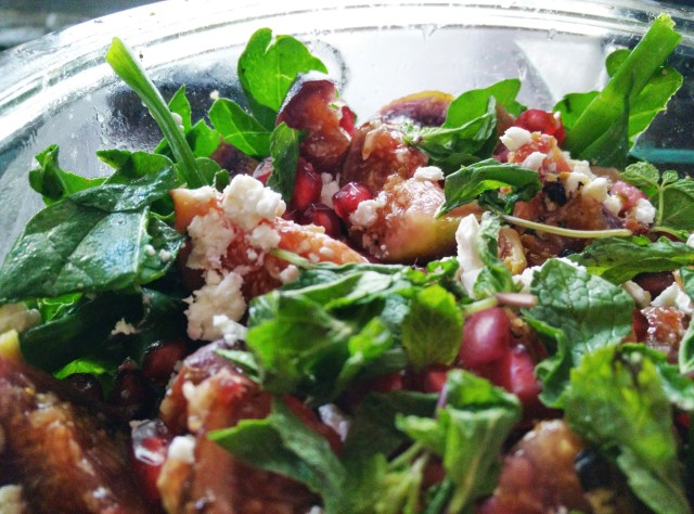 I assure you, you will wipe out the entire bowl of this delicious arugula, feta, fig and almond salad