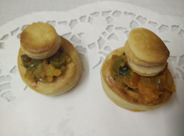 The delicately flavoured stuffed puffed pastry
