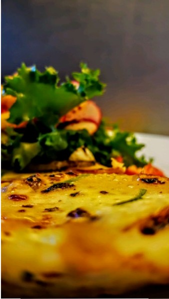 A perfect weekend brunch: Tortilla de Patatas, Stir Fried Onions and Sausages and Fresh Green Salad