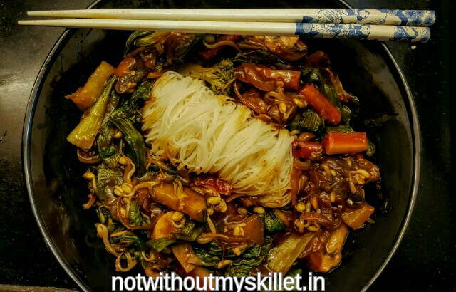 Vegetable Stir Fry with Gluten free Rice Noodles