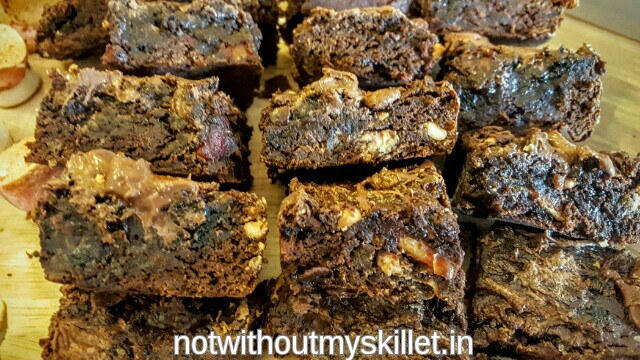 Chunky peanut butter, nutella, date and prune brownies