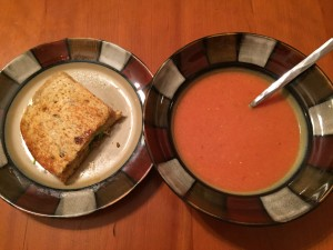 Curried Tempeh Grilled Cheese with Mango Chutney and Tomato Bisque
