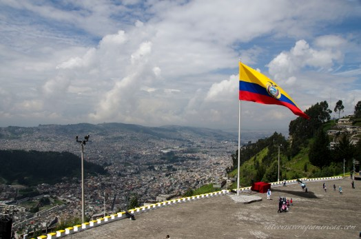 The Ecuadorian flag flying high over Quito.
