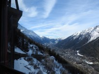 On the train climbing the Alps to see the glacier. Below is Chamonix.