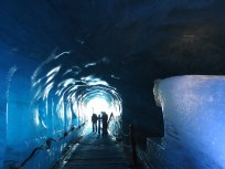 Inside the ice cave carved into the glacier Mer de Glace