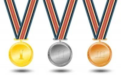 row of illustrated medals