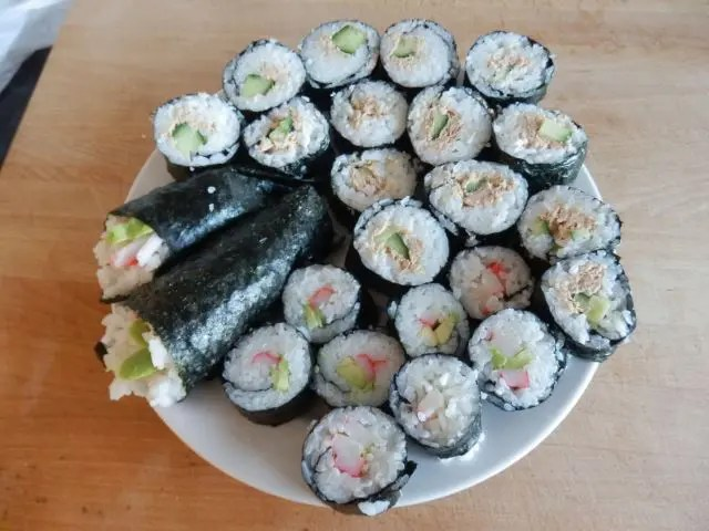 plate of homemade sushi