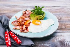 plate of bacon, eggs and avocado
