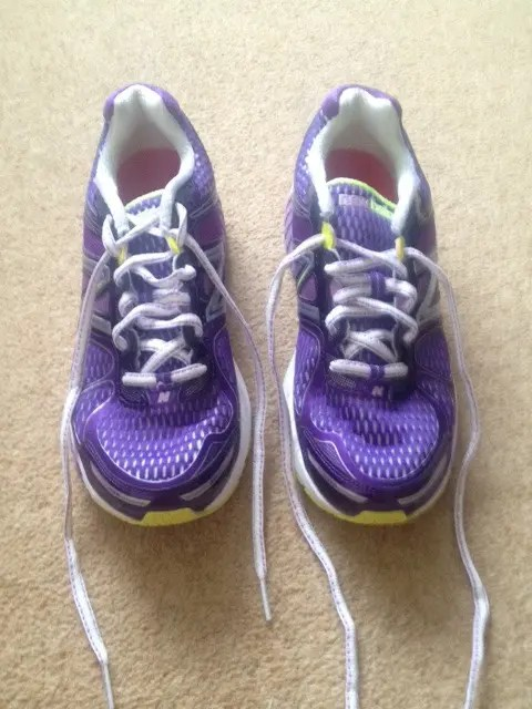 Pretty purple trainers - but check out the different laces. Magic Squeak  Stopping New Balance Shoes