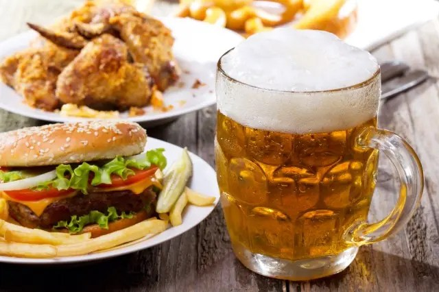 Burger, wings and a pint of beer