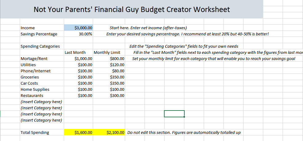 10 minute budget builder workbook not your parents financial guy