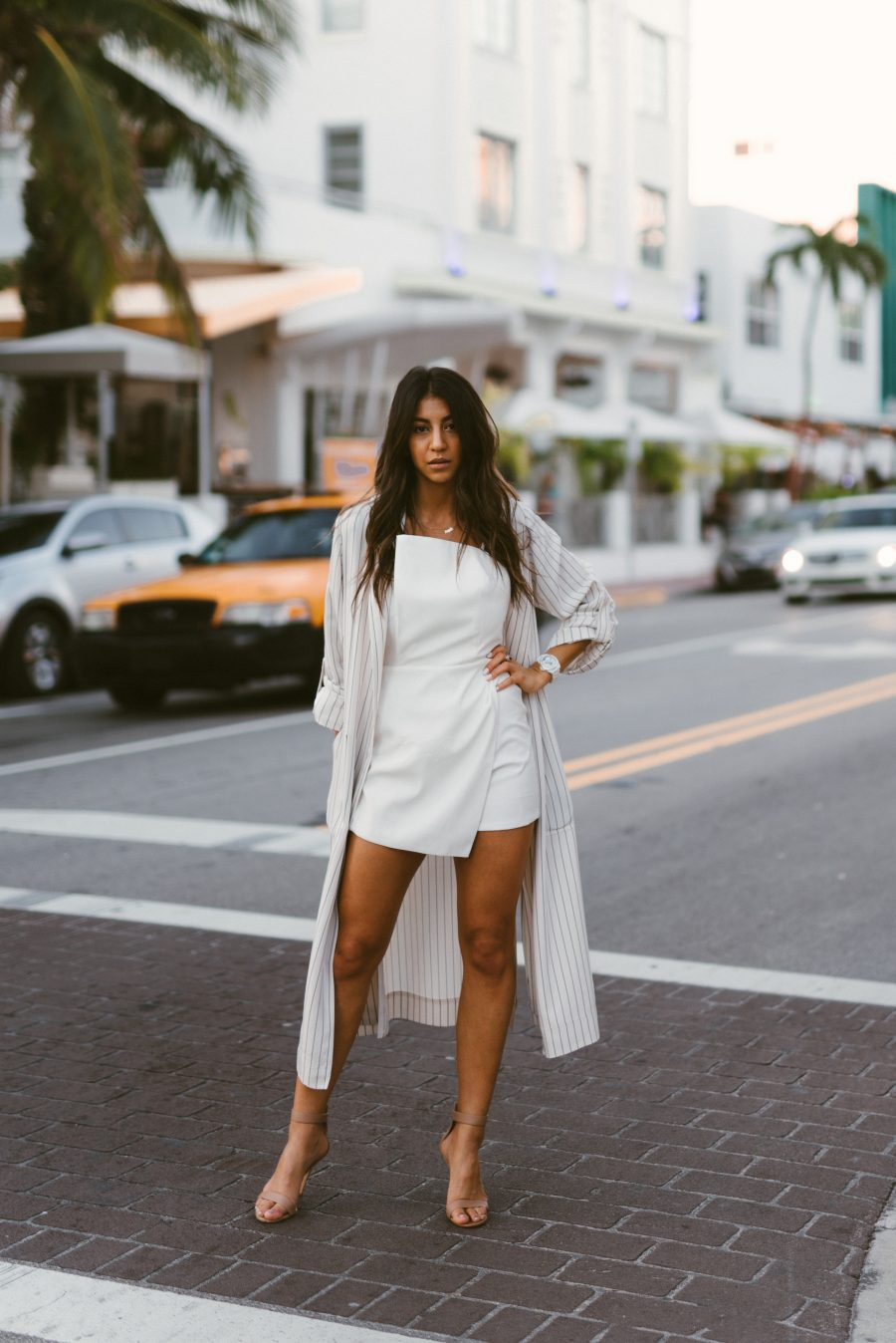 miami art basel blogger fashion streetstyle parties events white outfit duster coat pin stripe white dress gian vito rossi heels girl fashion style model