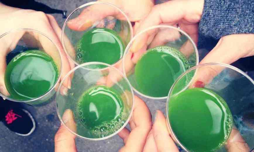 At a New York juice crawl, participants swap alcoholic shots for juice shots with names like 'Dr Feelgood' and 'Kalefornia'. Photograph: Courtesy of Juice Crawl