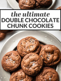 One bite and you'll fall hard for these decadent, brownie-like chocolate pillows studded with chocolate chunks and sprinkled with fine sea salt. Double chocolate cookies are a celebration if ever there was one!