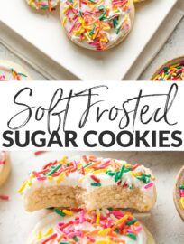 The BEST Soft Frosted Sugar Cookies!! These melt in your mouth, with a tender crumb and buttery flavor, and are every bit as beautiful as store-bought!