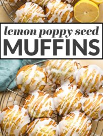 Perfectly moist and tender lemon poppy seed muffins make for a bright and sunny breakfast or snack! This quick and easy recipe uses Greek yogurt and pantry staples to deliver soft muffins infused with fresh lemon flavor, with a simple lemon glaze for even more flavor. Freezer-friendly, too!