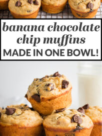 This quick and easy recipe delivers tender, moist banana chocolate chip muffins that are perfectly sweet and studded with irresistible pockets of chocolate! We use Greek yogurt for a healthy swap, too. This is the best way to transform overripe bananas into a tasty breakfast, snack, or treat!