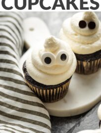 Celebrate Halloween with a choir of spooky white ghosts floating atop fluffy chocolate cupcakes. Easy, delicious, and incredibly fun!