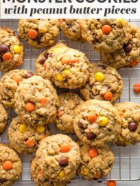 Thick, chewy monster cookies studded with oats, chocolate chips, and a generous scoop of Reese's pieces for extra peanut butter flavor. This quick and easy recipes is perfect for the peanut butter lover in your life!