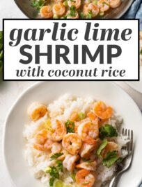 Make these delicious garlic lime shrimp and win dinner tonight! This easy recipe is ready in 25 minutes, even starting with frozen shrimp, and includes a surprisingly simple citrus pan sauce, fluffy coconut rice, and a sprinkling of fresh cilantro.