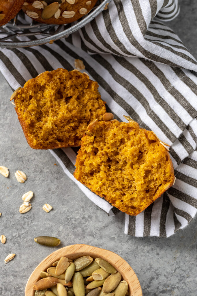 Close-up of the inside of a pumpkin muffin.